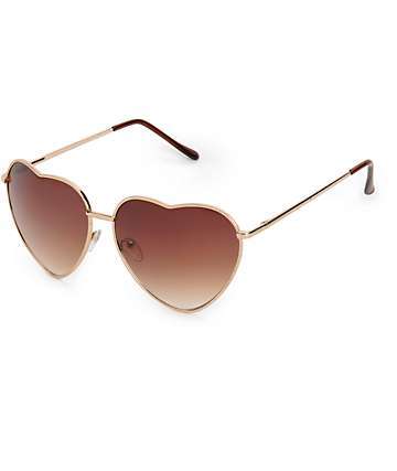 Big Luv Gold Heart Aviator Sunglasses