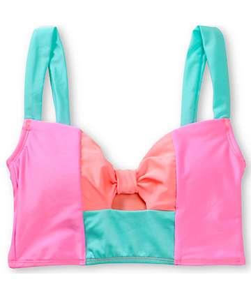 Bikini Lab I Got Bows Coral & Mint Midkini Top