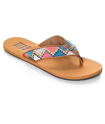 Billabong Baja sandalias tejidas en marrón y neón