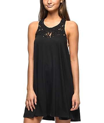 Billabong Easy Show vestido negro con puntilla