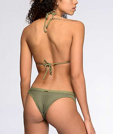 Billabong Meshin With You Olive Isla Super Cheeky Bikini Bottom