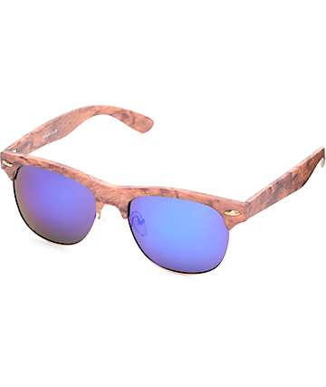 Birch Faux Wood Blue Lens Mirror Sunglasses