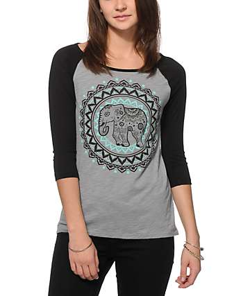 Bitter Sweet Ornate Elephant Baseball T-Shirt