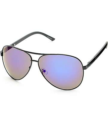 Black & Blue Mirror Aviator Sunglasses