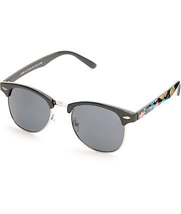 Black & Floral Retro Sunglasses