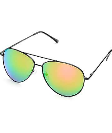 Black & Pink Mirror Aviator Sunglasses