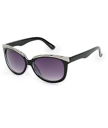 Black & Silver Cateye Sunglasses