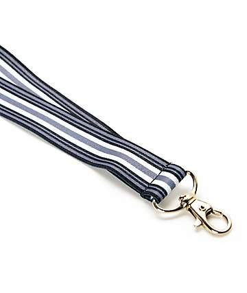 Black & White Striped Lanyard