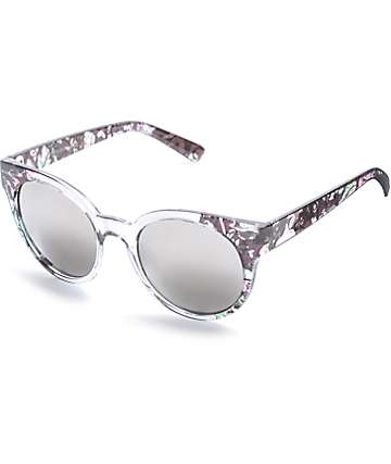 Black Catty Floral, Smoke Fade & Silver Mirrored Sunglasses
