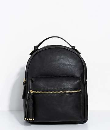 Black Faux Leather Mini Backpack