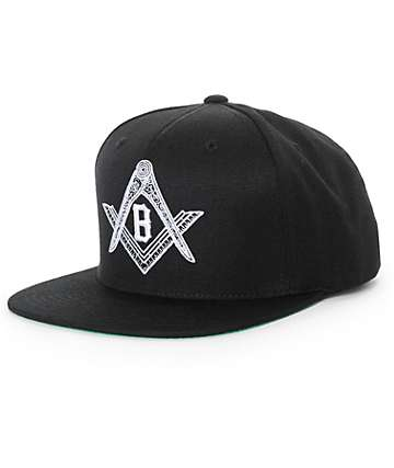 Black Scale Compass Snapback Hat