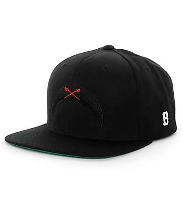 Black Scale Crescent Snapback Hat