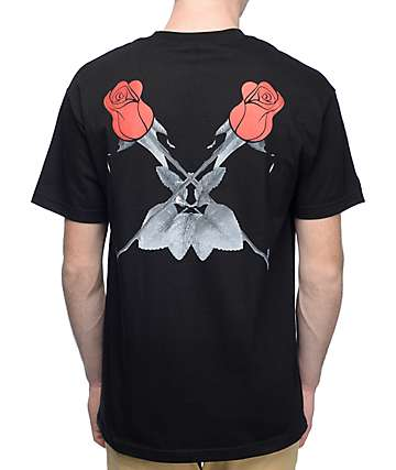 Black Scale Double Rose Black T-Shirt