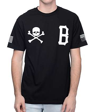 Black Scale Skull & B Logo Black T-Shirt