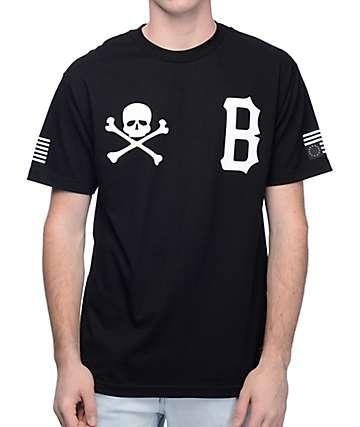 Black Scale Skull & B Logo camiseta negra