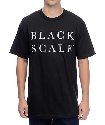 Black Scale Stacked Rebel Black T-Shirt