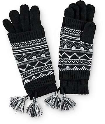 Black Tribal Knit Cuff Gloves