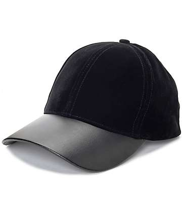 Black Velvet & Leather Baseball Hat