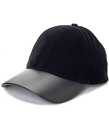Black gorra béisbol de cuero y terciopelo