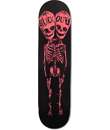 "Blackout Two Heads Red Bones 8.0"" Skateboard Deck"