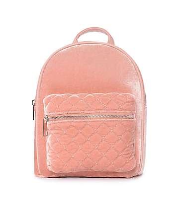 Blush mochila mini de terciopelo rosa
