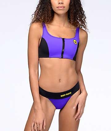 Body Glove Shout bottom de bikini con cintura alta color morado