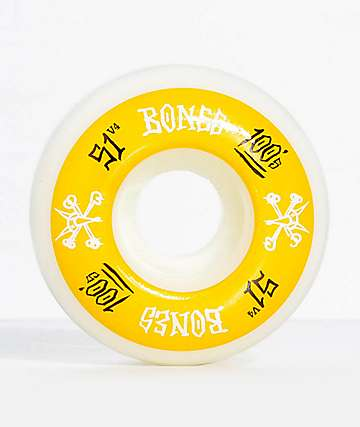 Bones 100 Ringers 51mm Yellow & White Skateboard Wheels