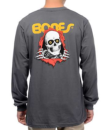 Bones Ripper Charcoal Long Sleeve T-Shirt