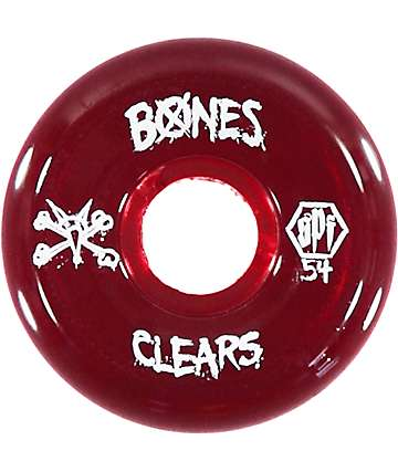 Bones SPF Clear Red 54mm Skateboard Wheels