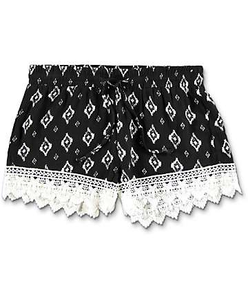 Breeze Ever Black & White Tribal Print Crochet Trim Shorts