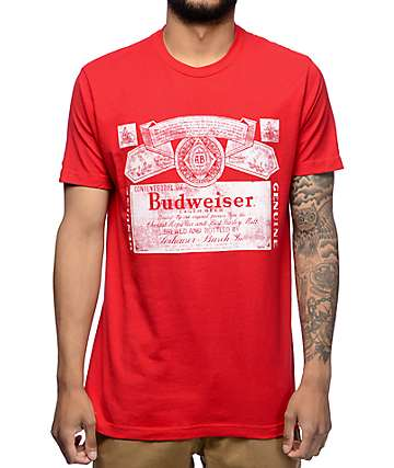 Brew City Budweiser Label Red T-Shirt
