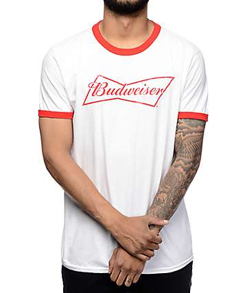 Brew City Budweiser White & Red Ringer T-Shirt