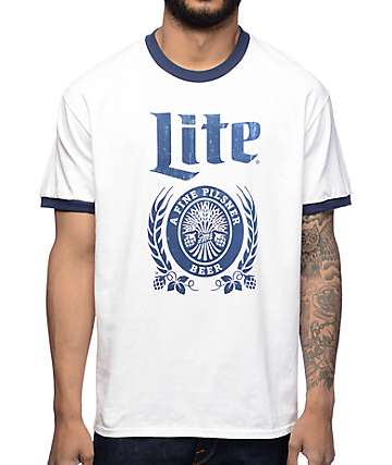 Brew City Miller Lite White & Navy Ringer T-Shirt