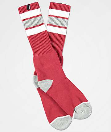 Brixton Alameda Dark Red & Heather Grey Crew Socks