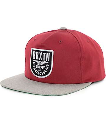 Brixton Alliance Burgundy & Heather Grey Snapback Hat