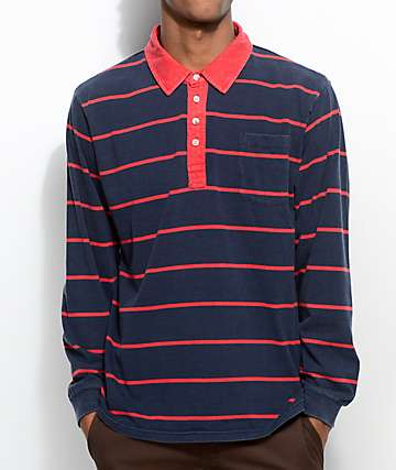 Brixton Belgrade Navy & Red Long Sleeve Polo Shirt