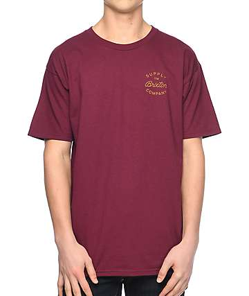 Brixton Birman Burgundy T-Shirt