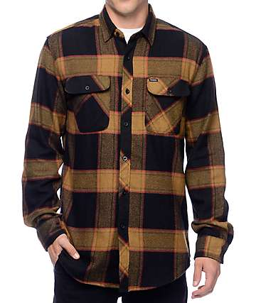 Brixton Bowery Black & Gold Flannel Button Up Shirt