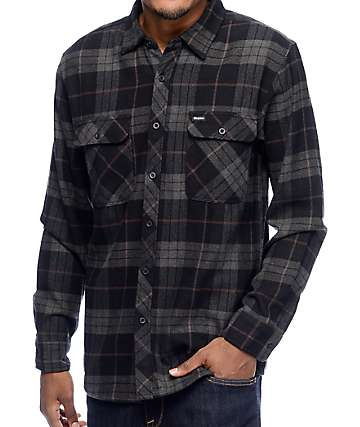 Brixton Bowery Charcoal & Black Flannel Button Up Shirt