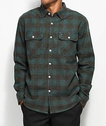 Brixton Bowery Teal & Charcoal Flannel Shirt