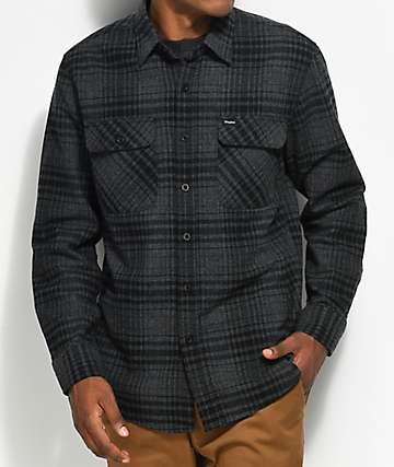 Brixton Bowery camisa de franela  en negro y gris jaspeado
