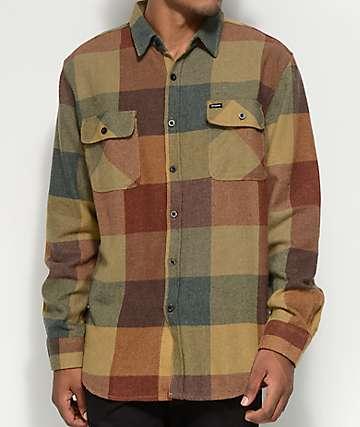 Brixton Bowery camisa de franela en color de óxido y dorado