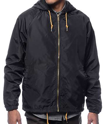 Brixton Claxton Black Hooded Windbreaker