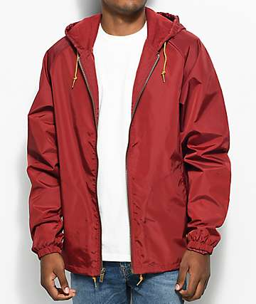Brixton Claxton Burgundy Hooded Windbreaker Jacket