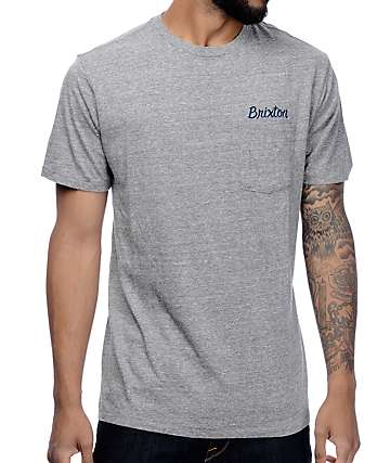Brixton Conway Heather Grey Premium Pocket T-Shirt