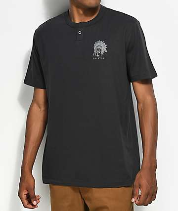 Brixton Crow Black Washed Henley Knit T-Shirt