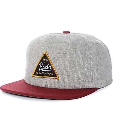 Brixton Cue Grey & Burgundy Snapback Hat