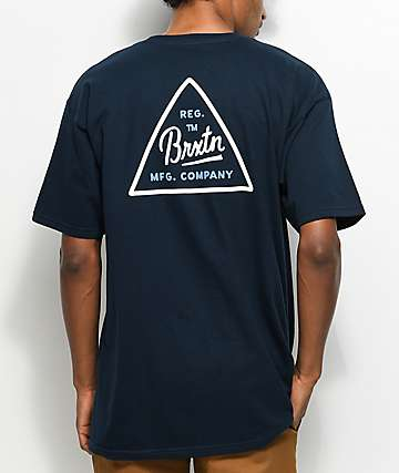 Brixton Cue Navy & White T-Shirt
