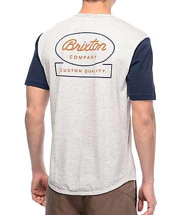 Brixton Dale camiseta en gris y azul marino