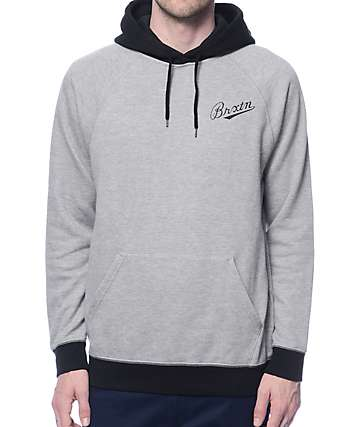 Brixton Fenway Heather Grey & Black Hoodie